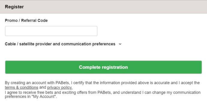 PABets Registration