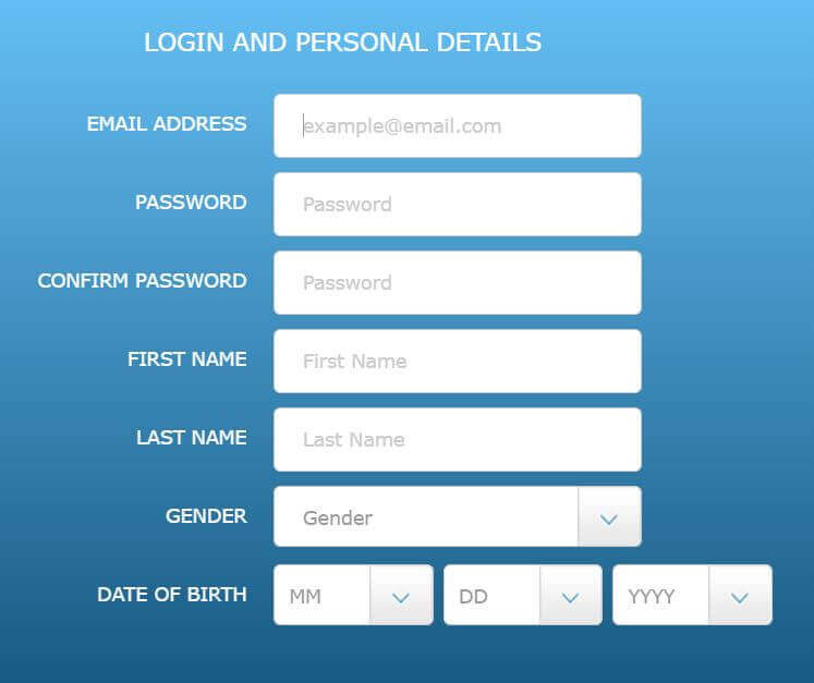 Resorts Casino Registration Form