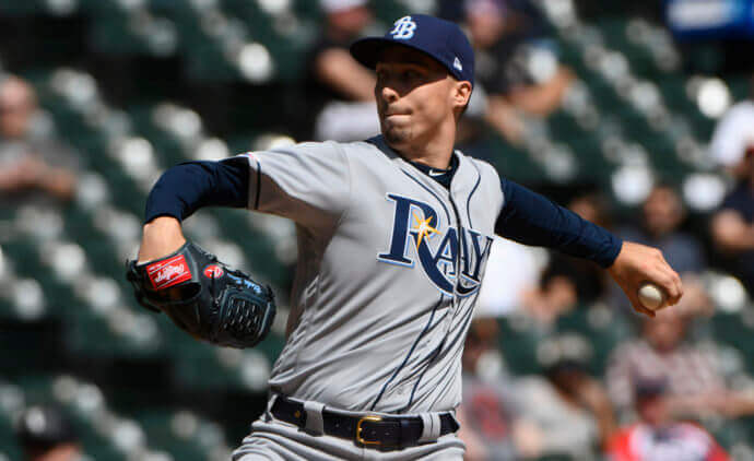 cba307382 Apr 8, 2019; Chicago, IL, USA; Tampa Bay Rays starting pitcher Blake Snell  (4) delivers in the first inning against the Chicago White Sox at  Guaranteed Rate ...