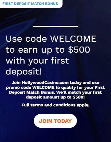 Hollywood Casino welcome bonus offer