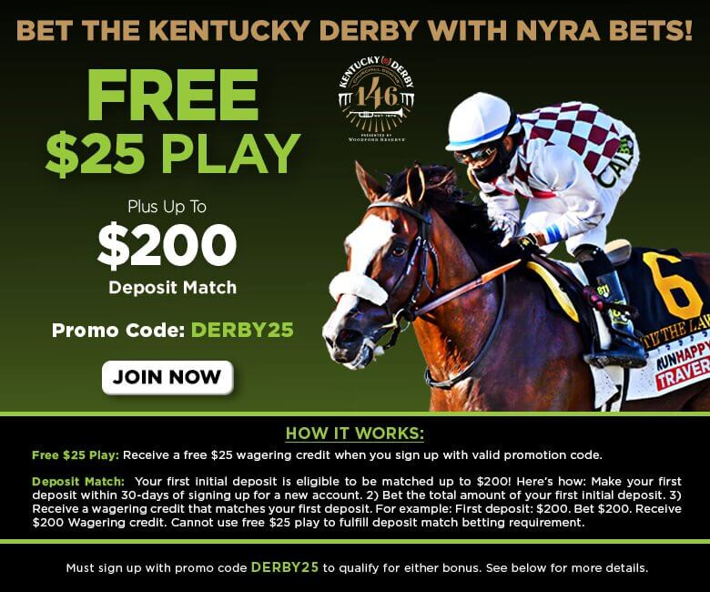 NYRA Bets promo code for Kentucky Derby